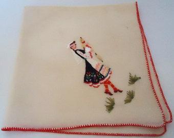 Eastern Europe Folk Handkerchief.60s
