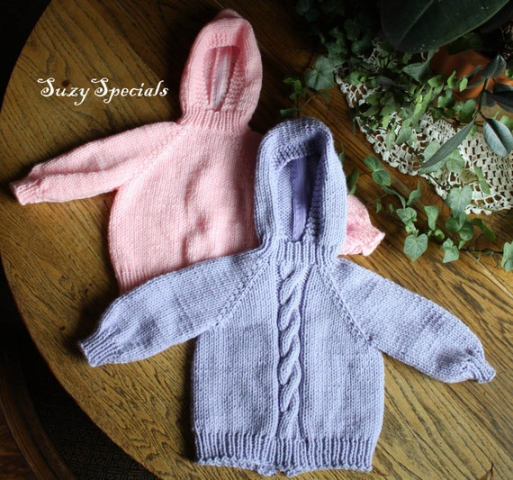 hooded knitted baby sweater with back zipper by SuzySpecials