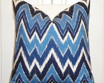 DURALEE - Decorative Pillow Cover - Chevron Print - Blue - Navy - Accent Pillow - Cushion Cover