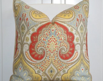Decorative Pillow Cover 24 X 24 Suzani Red Navy Blue