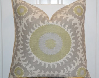 Beautiful Decorative Pillow Cover - Throw Pillow - Accent Pillow - Suzani - Lime Green - Gray - Medallion