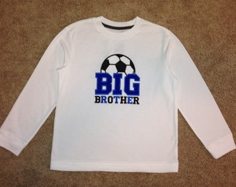 Embroidered - Personalized Soccer Big Brother Shirt or Bodysuit - Choose short or long sleeve
