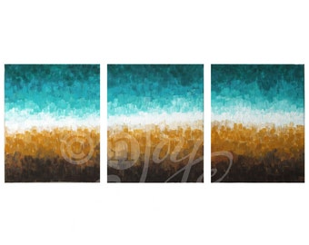 Zen Wall Art, ROCKY SHORELINE, Set of 3 8x10 Canvas Paintings, Abstract