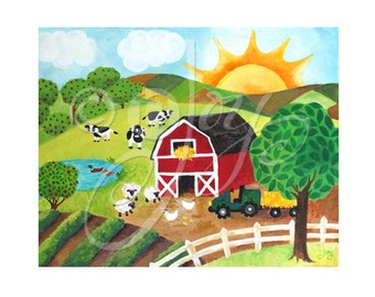 Daybreak on the Farm, 8x10 farm themed print, nursery decor, sunrise art