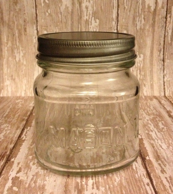 12 mini mason jars pewter lids by ashwoodboutique on etsy. Black Bedroom Furniture Sets. Home Design Ideas