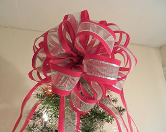 Large Red Velvet with silver mesh center Ribbon Christmas Tree Topper Bow