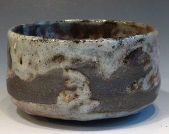 Black Stoneware Tea Bowl Japanese Style Matcha Chawan Yin Yang Sun and Clouds George Watson Signed