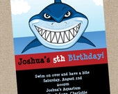 Shark Birthday Invitation - Printable or Printed - Shark Party Invitations - Shark Birthday Party Supplies - Boy 1st Birthday