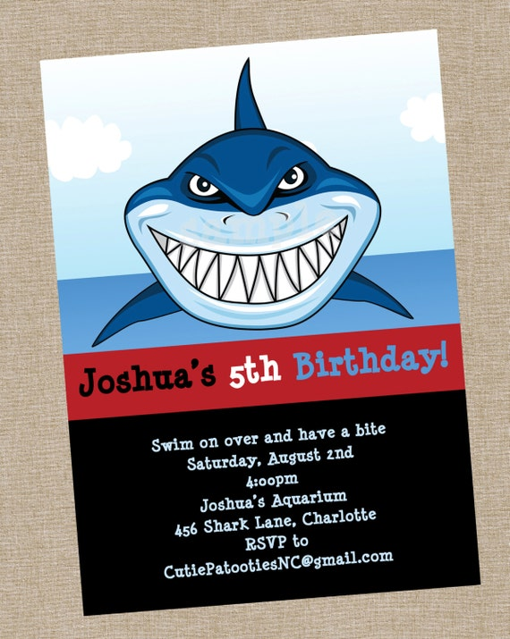 Shark Birthday Invitation Printable or Printed Shark Party