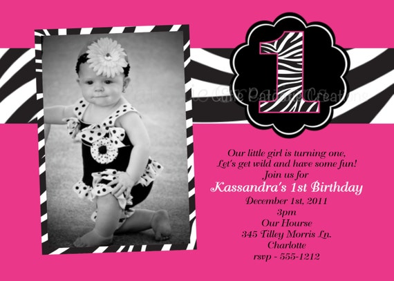 Pink and Black Zebra Print Birthday Party Invitations