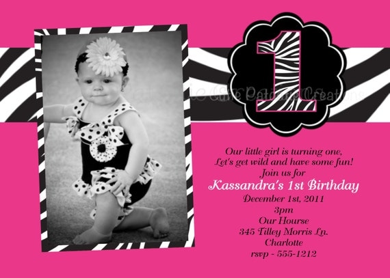 pink and black zebra print birthday party invitations, Birthday invitations