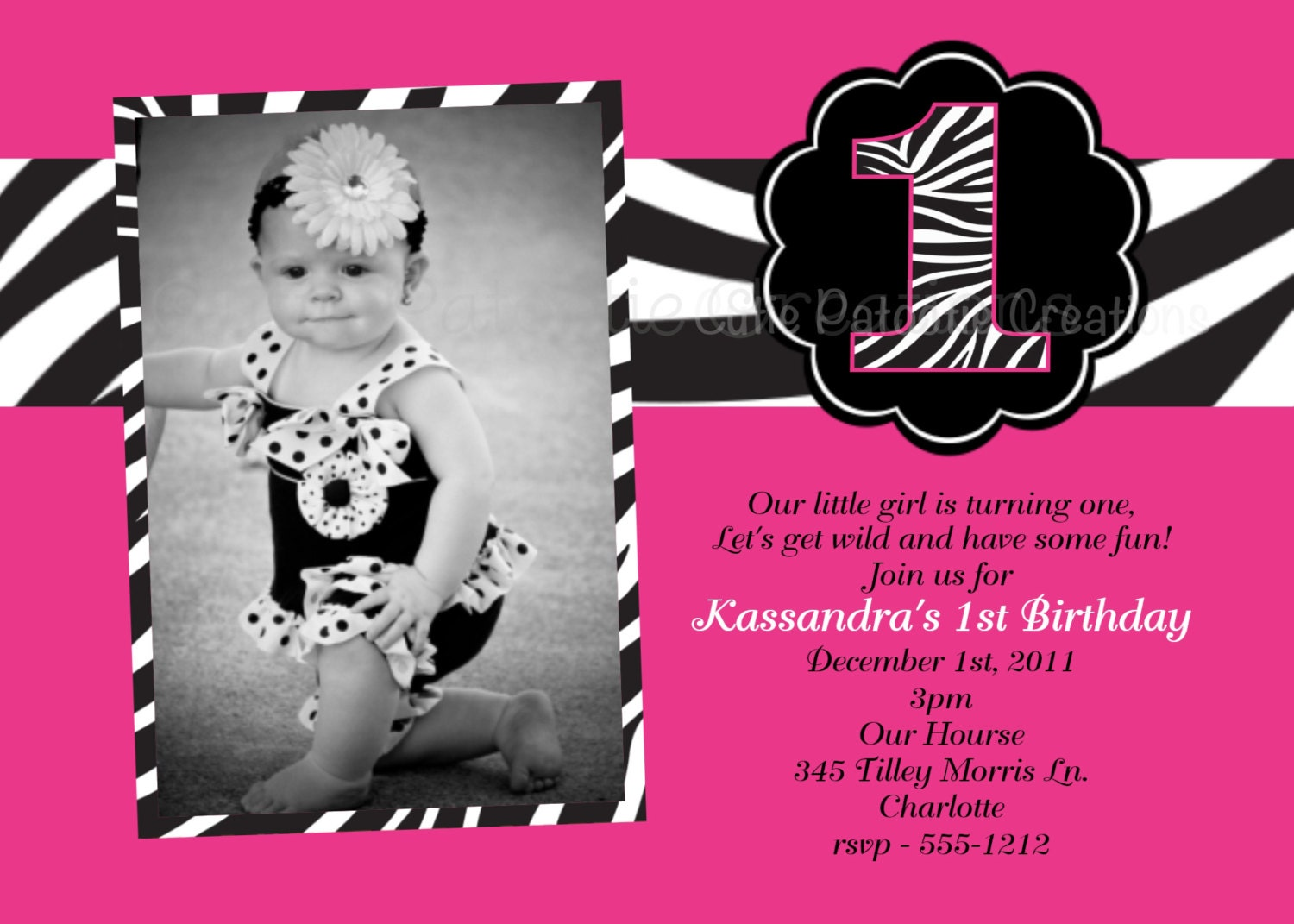 Pink and Black Zebra Print Birthday Party Invitations – Printed Birthday Invitations