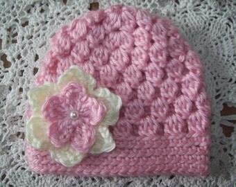 Hand Crochet Pink & Yellow FLOWER HAT Infant Baby Toddler Girl