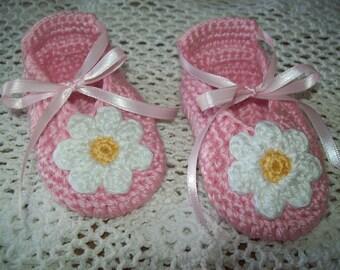PINK BALLET SLIPPERS Hand Crochet Baby Girl Booties