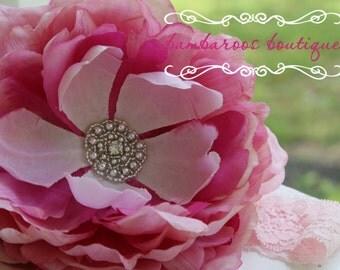 pink flower girl hair accessories, baby headband, infant headband, ivory flower headband, peony