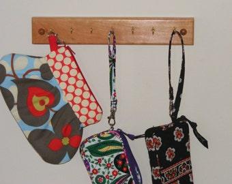 7 Hook Key Rack.  Natural or Dark Cherry.  Free Shipping