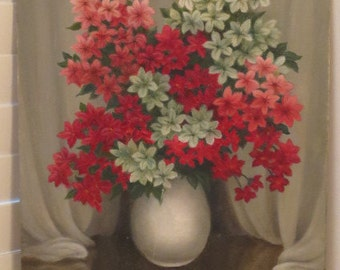 Vintage Mid-Century PINK Berry WHITE Flowers in Vase Original Oil Painting c. 1950s