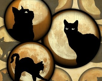 Black Cats on Orange Skies 1.5 inch Circles Halloween Digital Collage Sheet--Instant Download