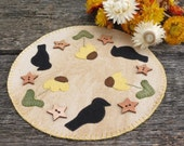 Field of Crows Penny Rug Candle Mat