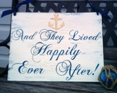Nautical Wedding Sign REVERSIBLE with Anchor NAVY BLUE Wedding Here Comes The Bride & And They Lived Happiy Ever After