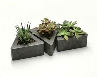 Triangle Concrete Planter - set of 3
