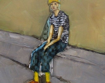 Wardrobe Malfunction -  ABSTRACT FIGURE PORTRAIT Giclee print from my original oil painting