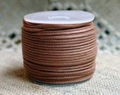 Cotton Cord Light Brown Waxed 2mm 25 Meter Spool