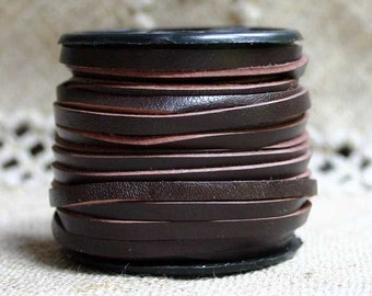 2 Yard Cord Leather Calf Craft Lace 3mm Red Brown Lacing
