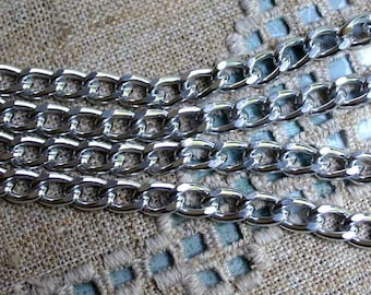5ft Craft Chain Silver Aluminum 14x10x2.5mm Twisted Oval Links 14mm