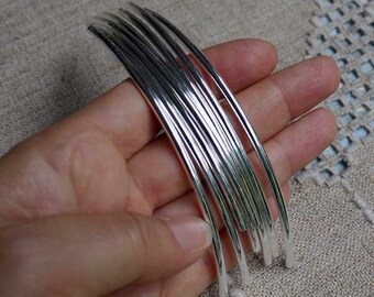 20pcs Metal Beads Silver Plated Curved Tube 100x3mm