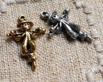 Halloween Gold Scarecrow Charm Antiqued Pewter Fall Holiday 28x14mm Double-Sided