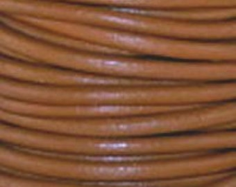 3mm Henna Brown Round Leather Cord 1 Meter