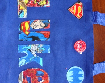 "Boy's Personalized Super Hero Tote with button closure (8.5"" x 11"" x 3"")"