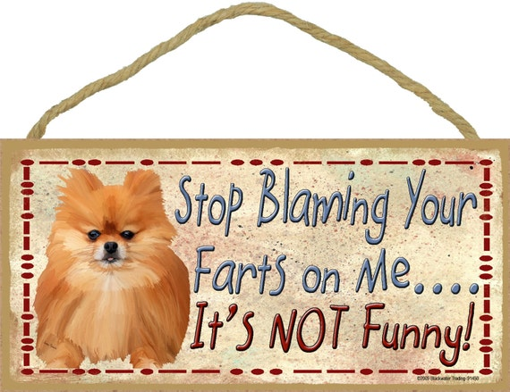 """POMERANIAN Stop Blaming Your FARTS On Me It's Not Funny 10"""" x 5"""" Dog SIGN Pet Plaque Wall Decor 8""""x 5"""""""