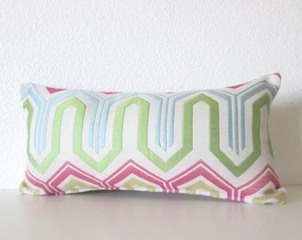 Zig zag green pink blue 8x16 geometric mini lumbar pillow cover