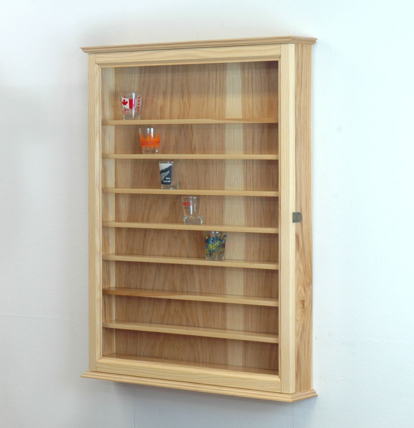 Hickory shot glass display case wall cabinet by fwdisplay on etsy