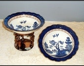 Real Old Willow Booths A8025 Serving Bowls Large Perfect Gold Cobalt Brown