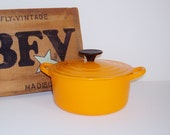 Vintage Le Creuset Dutch Oven Round Yellow Orange Enamel 1960s 2 Qt  Cast Iron Pot Covered Casserole Dish Cocotte Made in France French Oven