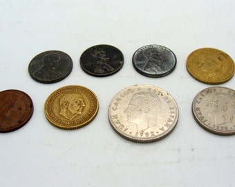 8 Vintage Coins For Jewelery Making