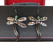 Dragonfly Earrings Clear with Green, Orange and Yellow Polka Dots