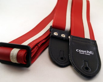 Red and White Racer X Guitar Strap - Racing Stripe - Vintage Style with modern technology