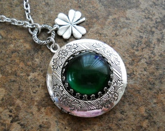 Irish Locket, Shamrock Locket, Lucky Locket, Emerald Locket, Irish, Lucky, Emerald, Silver Locket, Locket