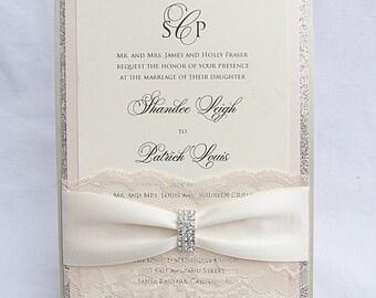 Glitter Invitation, Wedding Invitation, Elegant Wedding Invitation, Rustic Wedding Invitation, Vintage Wedding Invitation,LALA - EMBELLISHED