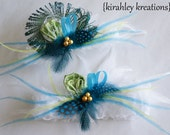 GLAMOUR -- Feather Bridal Keepsake & Toss Garter Set Apple Lime Green and Teal Turquoise Blue Gold Beads -- Customize in YOUR Wedding Colors