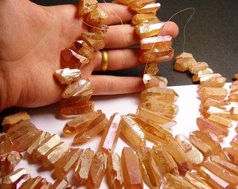 Quartz mystic aura orange crystal points -  top drilled - Full strand - 34 pcs