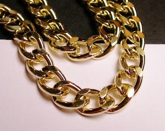 Gold chain - lead free nickel free won't tarnish - 1 meter - 3.3 feet - aluminum chain - big curb chain NTAC6