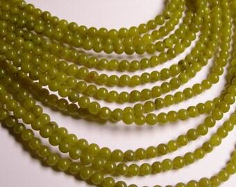 Olive jade -  4mm - round - 88  beads - full strand - RFG959