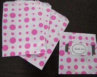 Paper Bags-Polka Dot Bags-Set of 50- 6.5 x 5 inch Bags-Favor Bags-Treat Bags