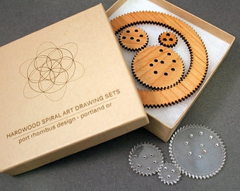 Hardwood Spiral Art Drawing Tool for Drafting Rosettes and Borders & other Decorations - Spirograph Toy Kit