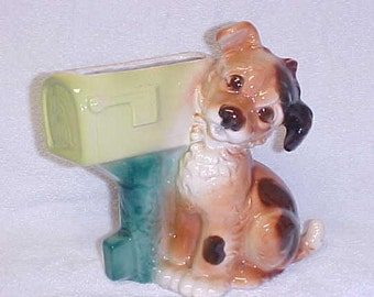 Royal Copley  Terrier Dog At Mailbox Vintage Figurine Planter Pottery 1940's